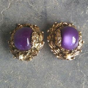 Vintage Purple Iridescent Clip Earrings